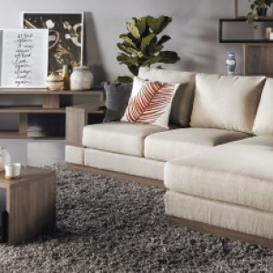 Luceo L-Shape Fabric Sofa with Wooden Storage Arm (Home Package, Top Up)