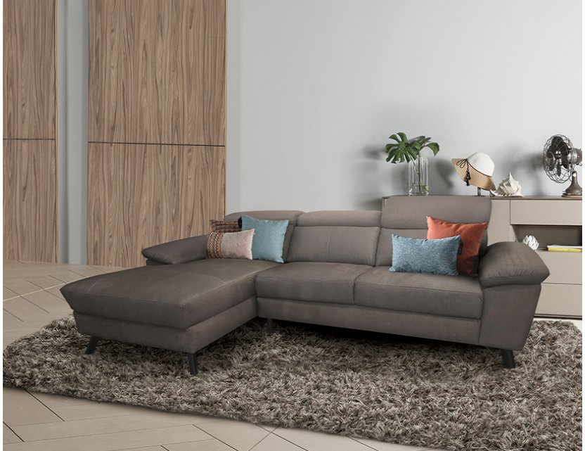 Marvin L-Shape Fabric Sofa with Adjustable Headrests