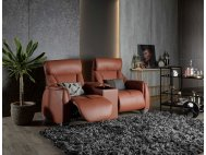 Sho Motorised Leather Recliner Sofa With Storage Box and Cupholders