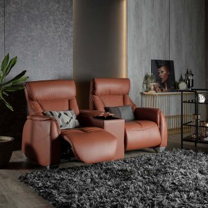 Sho Motorised Recliner Leather Sofa With Storage Box and Cupholders