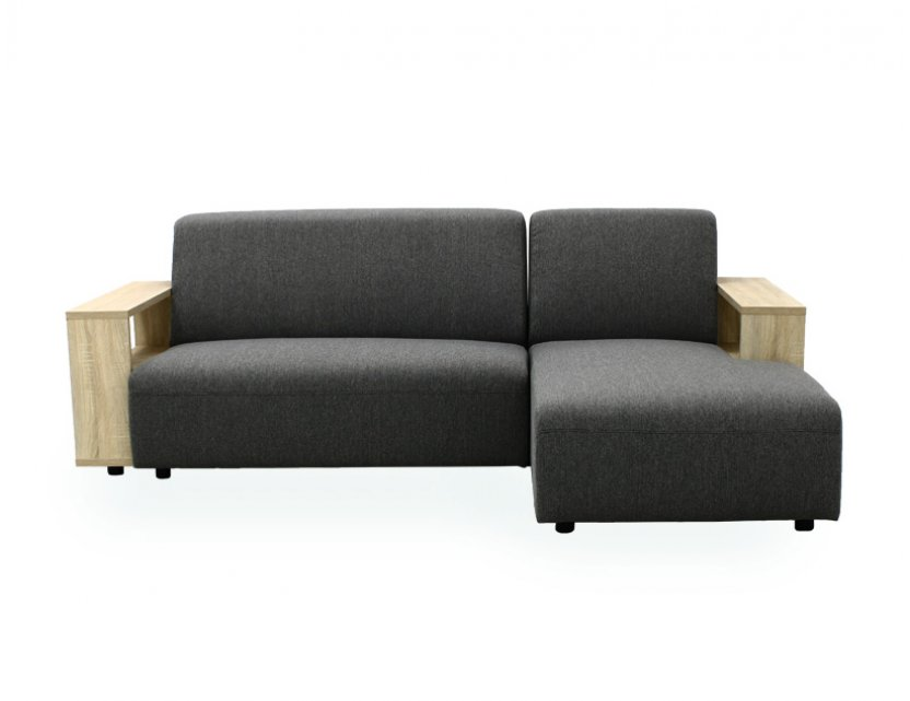 Studio L-Shape Fabric Sofa with Wooden Storage Arm