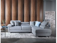 Apollo L-Shape Fabric Sofa with Seat Cushions and Adjustable Headrest