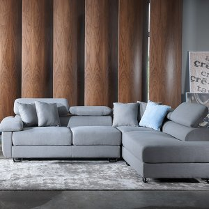 Apollo L-Shape Fabric Sofa with Seat Cushions and Adjustable Headrest