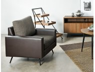 Dansk Fabric Sofa with Faux Leather Armrest