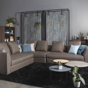 Evita L-Shape Fabric Sofa with Seat Cushions