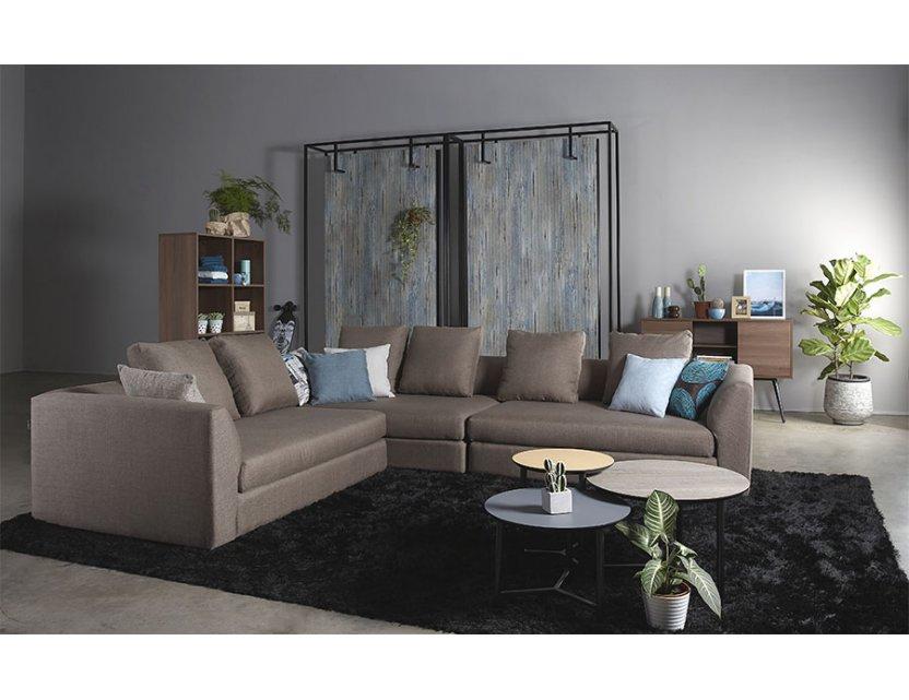 Evita L-Shape Fabric Sofa with Seat Cushions