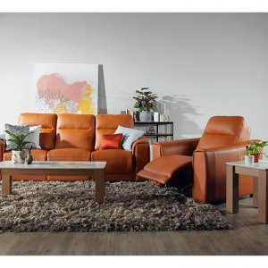 Grande Motorised Recliner Leather Sofa with High Backrests