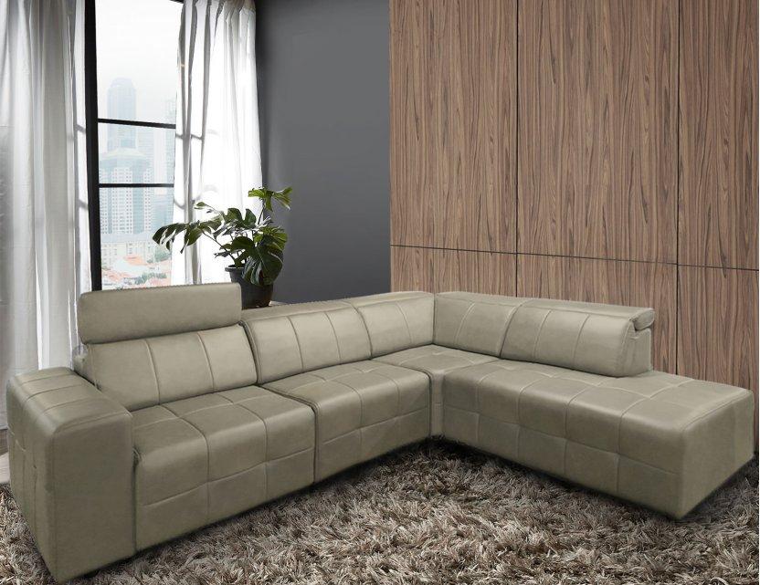 Pac Motorised L-Shape Leather Recliner Sofa