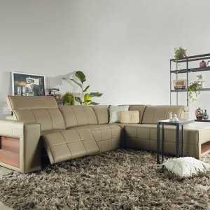 Pac L-Shape Motorised Recliner Leather Sofa with USB Ports and Storage Box
