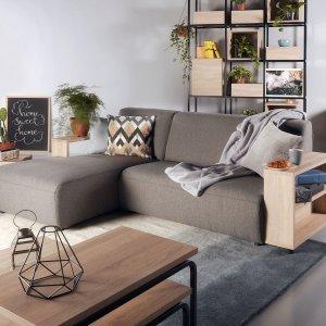Studio L-Shape Fabric Sofa with Wooden Storage Arm