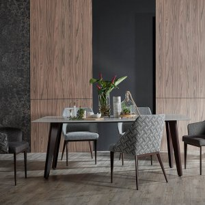 Kay Quartz Top Dining Table (1.6M) with Hatch Dining Chairs