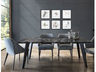 Black Beauty Granite Dining Table 1.95m with Hatch Dining Chairs