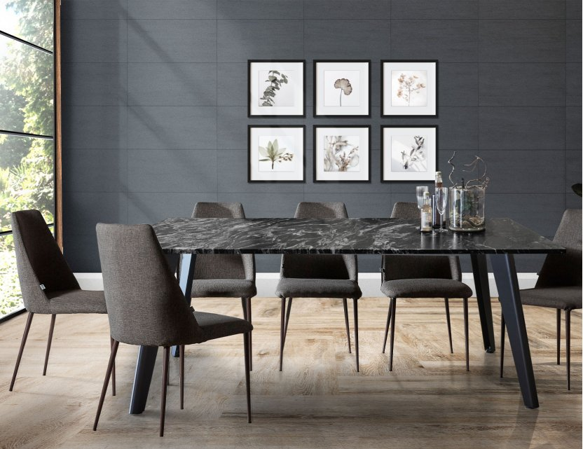Black Beauty Granite Dining Table 1.95m with 6 Henry Dining Chairs