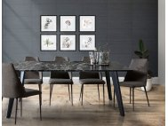 Black Beauty Granite Dining Table 1.6m with 4 Henry Dining Chairs