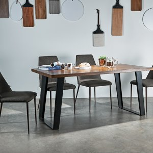 Bloc Teak Wood Dining Table 1.4M with 4 Henry Dining Chairs