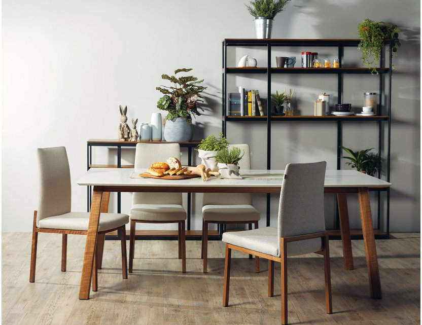 Bolda Quartz Top Dining Table 2M with Flex Dining Chairs