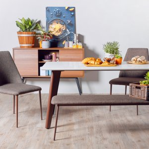 Kay Quartz Top Dining Table (1.6M) with 2 Henry Chairs and 1 Henry Bench