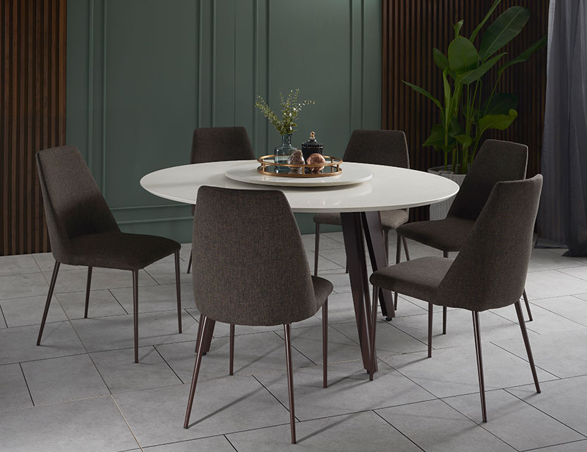 Kay Quartz Top Round Dining Table  with Henry Dining Chairs
