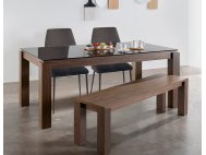 Max 1.3m Glass Dining Table with 2 Henry Dining Chairs + 1 Max Wood Bench