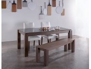 Max 1.3m Glass Dining Table with 2 Doric Dining Chairs + 1 Max Wood Bench