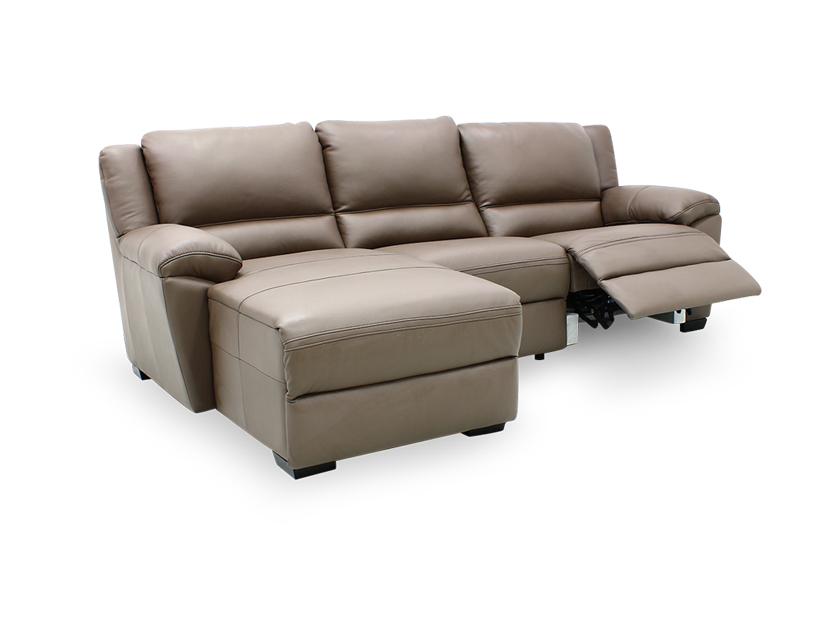 Delaere Motorised Recliner Leather Sofa with Touch Sensors and High Backrest