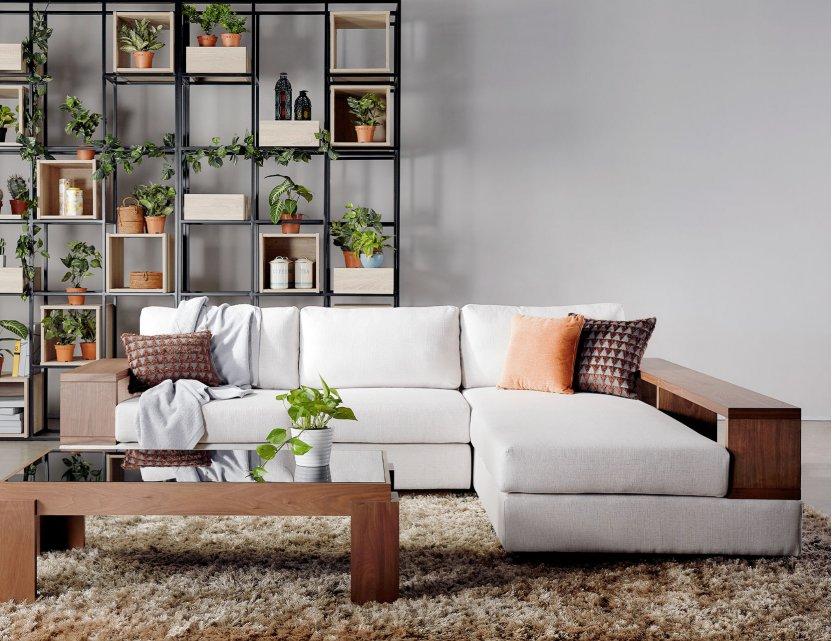 Elda L-Shape Fabric Sofa with Wooden Storage Arm