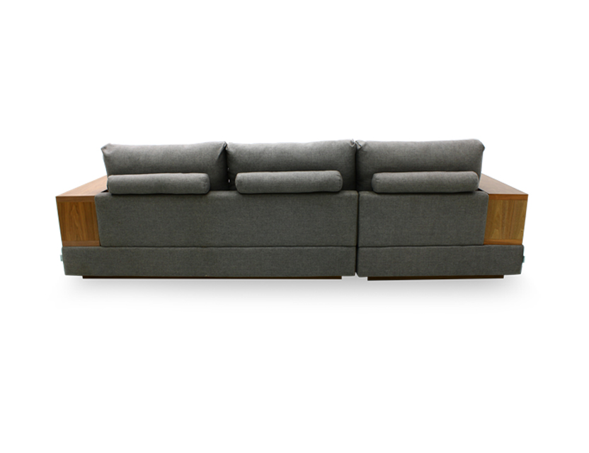 Elda L-Shape Fabric Sofa with Wooden Storage Arm (Home Package, Top Up)