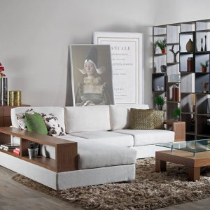 Elda L-Shape Fabric Sofa with Wooden Storage Arm