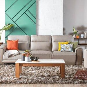 Grande Motorised Leather Recliner Sofa with High Backrests