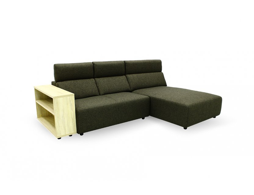 Karl L-Shape Fabric Sofa with Adjustable Headrest and Wooden Storage Arm