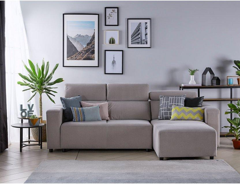 Karl SA L-Shape Fabric Sofa with Adjustable Headrests and Slim Arms