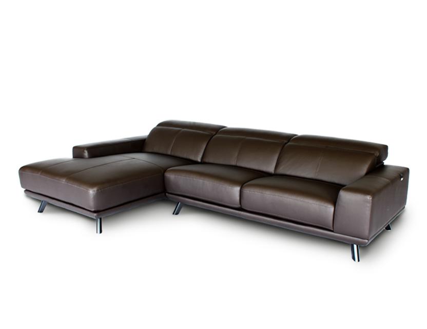 Kof L-Shape Half Leather Sofa with Adjustable Headrests
