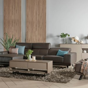 Kof L-Shape Half Leather Sofa with Adjustable Headrests