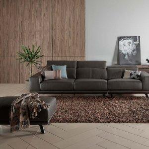 Kof Half Leather Sofa with Adjustable Headrests