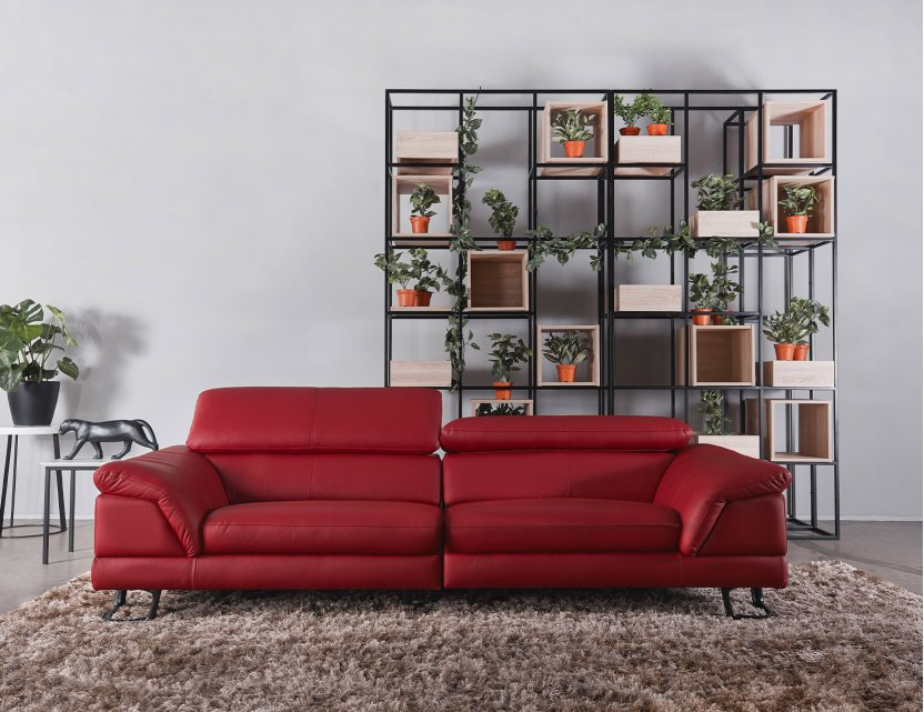Korus 3 Seater Leather Sofa With, Red Leather Furniture