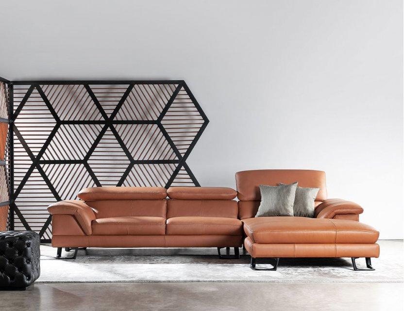 Korus L-Shape Leather Sofa with Adjustable Headrest