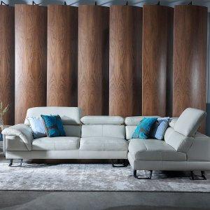 Korus Sectional Leather Sofa with Adjustable Headrests