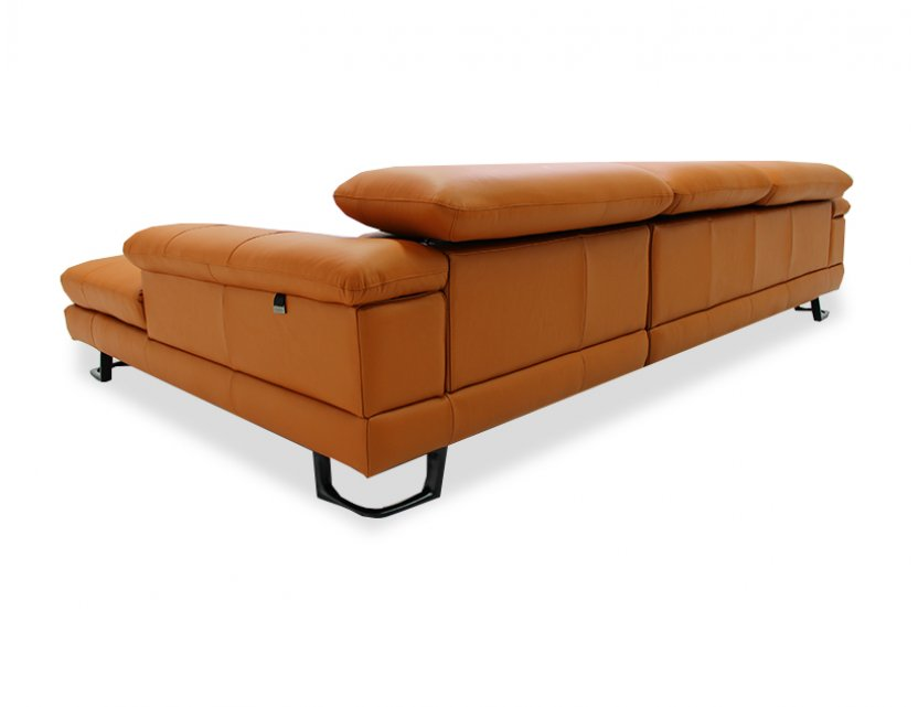 Korus L-Shape Leather Sofa with Adjustable Headrest