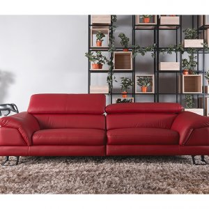 Korus 3 Seater Leather Sofa With Adjustable Headrest