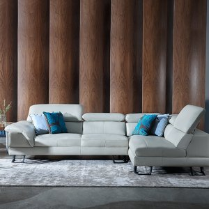 Korus Sectional Leather Sofa with Adjustable Headrests