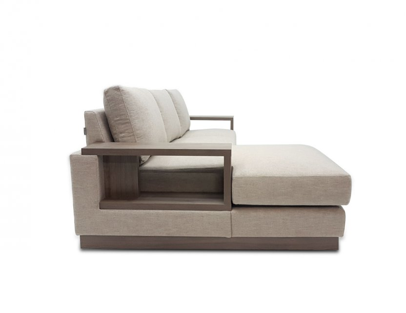 Luceo L-Shape Fabric Sofa with Wooden Storage Arm