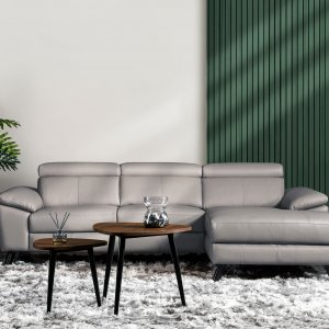 Marvin L-Shape Leather Sofa with Adjustable Headrests