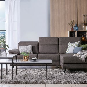 Mel L-Shape Fabric Sofa with Adjustable Headrests