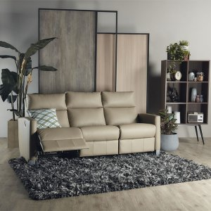 Mila Manual Recliner Leather Sofa with High Backrest
