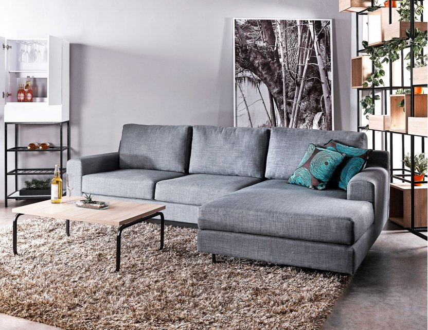 Ross L-Shape Fabric Sofa with Removable Covers