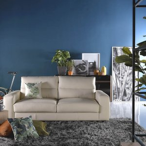 Tres Leather Sofa with High Backrest