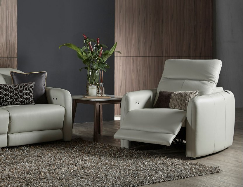 Penna Motorised Leather Recliner Sofa with Adjustable Headrests