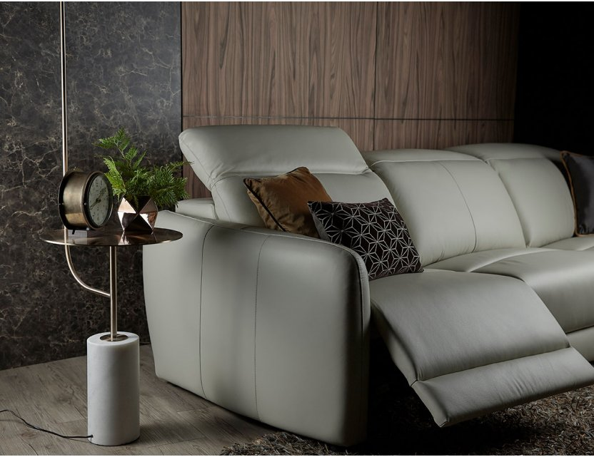 Penna Motorised Recliner Leather Sofa with Adjustable Headrests