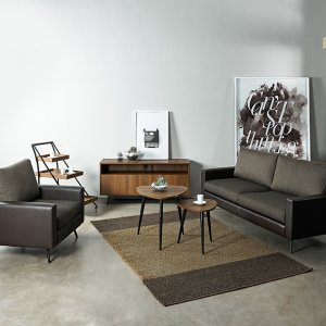 Dansk Fabric Sofa with Leather Armrest