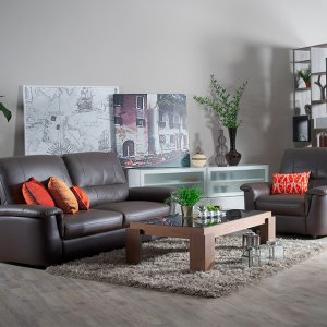 Lux Leather Sofa with Padded Plush Seats